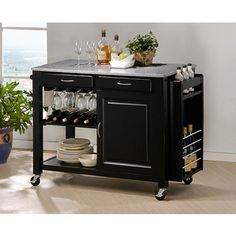 Phoenix Black Modern Kitchen Island with Granite Top | Overstock.com