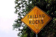 Recyclart.  Falling in love Rocks sign.  LOVE it!