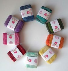 Hand made soaps wrapped in merino wool and and tussah silk fibres.