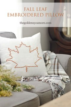 Fall leaf embroidered pillow cover