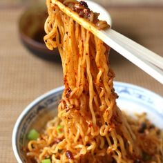 Ramen Noodles with Spicy Korean Chili Dressing Recipe with ramen noodles, scallions, chili seasoning, reduced sodium soy sauce, rice vinegar, honey, toasted sesame oil