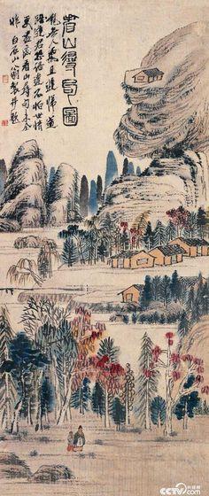 齊白石 -《看山尋句圖》                      Qi Baishi (1864-1957),  106×45cm