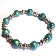Beautiful Turquoise Miracle Bead Antique Tibetan Silver Style Bracelet    Bracelet is Approx 7 Inches Unstretched - Beads Are 10mm
