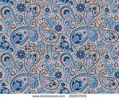 vector seamless graphical paisley print with flowers, dots, leaves - stock vector