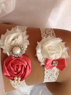 Pink Coral Wedding Garter SetCoral and Ivory Garter by HopesBridal, $23.95