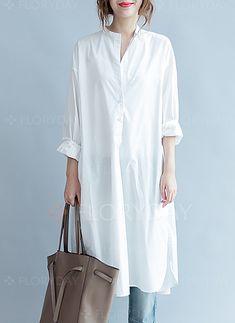 Dress - € 42.00  - Cotton Solid Long Sleeve Midi Shift Dress (1955186456)