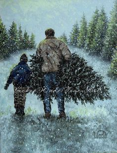 Bringing Home the Christmas Tree Art Print, dad and son Christmas tree, father son, Vickie Wade paintings