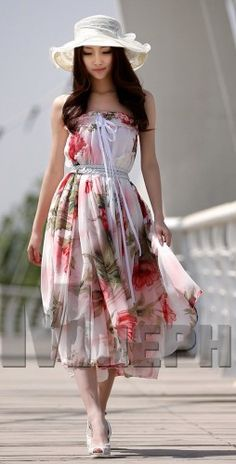 Pretty Bohemian White Red Floral Print Chiffon Dress. Long Skirt