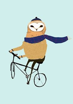 Nursery Art. Barn Owl on Bike by Ashley Percival. limited edition nursery art print.. $30.00, via Etsy.