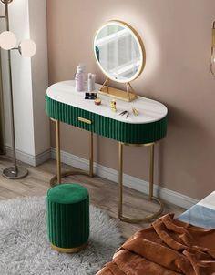 Green Dressing Tables, Dressing Table And Bed, Furniture Dressing Table, Dressing Table Vanity, Modern Bedroom Furniture, Modern Dresser, Scandinavian Furniture, Bedroom Modern, Metal Furniture