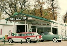 Garages and Gas Stations . We had a Sinclair gas station in Ohio where I grew up. The green dinosaur.