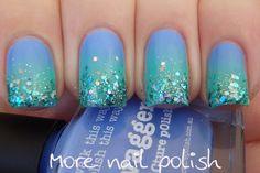 piCture pOlish ' Swagger, Chillax, Glitter Ball & Ariel's Tale' gradient mani by More Nail Polish!  Shop on-line: www.picturepolish.com,au