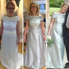 From initial toile to fitting to finished and wearing on the day you can see here a small part of the design process and what your journey with us entails when you have a bespoke gown that's made to measure.  Here lovely Cathy is in her French powder blue silk dupion gown.   It can be hard to find anything other than white or ivory dresses in the shops but coloured silks can look just as stunning if not more so because they offer something a little bit different to the majority.  A great way… Ivory Dresses, Formal Dresses, Dupion Silk, Dressmaker, Design Process, Dream Dress, Dress For You, Silk Dress, Bespoke