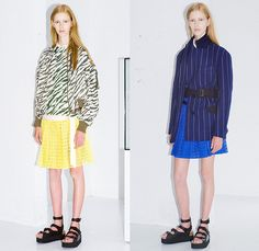 Sacai Luck 2015 Resort Womens Lookbook Presentation in Paris France - 2015 Cruise Pre Spring Fashion Pre Collection Chitose Abe Tokyo - Mesh 3d Cutout Perforated Laser Cut Multi-Panel Shorts Blouse Zipper Sandals Banded Strap Ruffles Balloon Sleeves Ribbed Knit Lace Zebra Stripes Bomber Jacket Pinstripe Outerwear Boxy Shirt Open High Slit Motorcycle Biker Rider Frock Midi Skirt Accordion Pleats Peplum Shirtdress Oversized Coat Shorts Loungewear Jogging Sweatpants