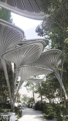 """The Frankfurt-based architecture firm Mask Architects designed """"Oasys+System"""" called """"the artificial breathing palm modular structure system"""". #abudhabi #uae #architecture #architect #amazing #travel #amazing #decor #interior #interiordesignideas #interiordesigner #design #diy #home #house #modern #decoration Unique Architecture, Architecture Portfolio, Futuristic Architecture, Sustainable Architecture, Landscape Architecture, Parametric Architecture, Urban Heat Island, Pond Design, Amazing Buildings"""