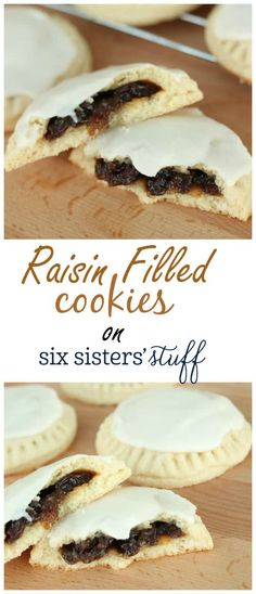 A delicious raisin filled cookie topped off with a buttercream glaze frosting. Raisin Filled Cookie Recipe, Raisin Cookies, No Bake Cookies, Raisin Pie Filling Recipe, Raisen Cookie Recipe, Raisen Pie, Baking Cookies, Cookie Desserts, Just Desserts
