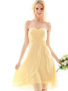 Lemon Bridesmaid dress ideas ...Sexy A-line Sweetheart Ruffles Sleeveless Knee-length Chiffon Dresses