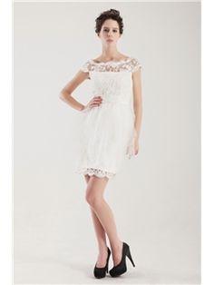 素晴らしいウェディングドレス 半袖 ミニレース