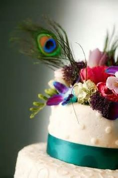 Peacock Wedding Cake. not for my wedding, but I love the colors of all the flowers and the details in the frosting.