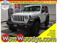 """Wow! This brand New 2019 Jeep Wrangler Sport 4x4 is equipped with 2.0L I4 engine. Top options include Convertible, Tow Package, Rock Rails, 5"""" Media Touch Screen, Backup Camera, and so much more! Scores 25 Highway MPG and 23 City MPG! This Jeep Wrangler boasts a Intercooled Turbo Premium Unleaded I-4 2.0 L engine powering this Automatic transmission. Urethane Gear Shift Knob, Steel Spare Wheel, Single Stainless Steel Exhaust."""