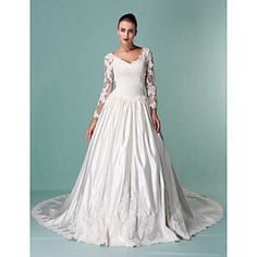 Lan Ting Ball Gown Plus Sizes Wedding Dress - Ivory Chapel Train V-neck Satin/Tulle – USD $ 249.99