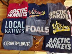 band shirts- arctic monkeys, the vaccines, local natives, foals, grouplove