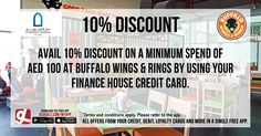 Avail 10% discount on a minimum spend of AED 100 at Buffalo Wings and Rings Abu Dhabi by using your Finance House credit card. Download GL Deals app now to get more access to such offers! http://www.gldeals.com/myapp #BuffaloWingsAndRings #FinanceHouse #IslamicHouseCards #AmericanCuisine #App #MobileApp #AndroidApp #iOSApp #AppStore #PlayStore #Deals #Discounts #Offers #Cards #UAE #Like #Share #GLDeals #UAEDeals #AbuDhabiDeals #AbuDhabiOffers #FreeApp