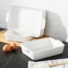 Sale ends soon. Shop White Baking Dish Set of You'll turn to our clean, white baking dishes time and again for daily meals and potluck dinner parties. Nesting stoneware bakers transition easily from oven to table.