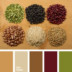 This color palette successfully combines burgundy, light olive and sand tones. With this color scheme you can safely decorate your kitchen, as these colors are associated with flowers of legumes. Also, the colors will suit well for a coffee shop. In case of clothes, this color palette can be used to make an original kitchen apron.