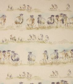 Come By fabric is a stunning watercolour country fabric depicting grazing sheep on a linen/cotton backing cloth. Coordinates with matching Come By cushion. Suitable for curtains, blinds and cushions.