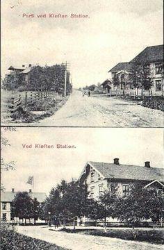 Akershus fylke Ullensaker kommune Ved Kløften Station 2-bilders kort. Utg A.& B./N.L.& R tidlig 1900-tallet