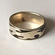 Vintage Sterling silver and black enamel eternity ring, size 10.5 Lot 17A