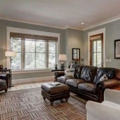 """The living room wall color is Sherwin Williams """"Contented"""" *window treatments, paint color, couch* Room Paint Colors, Paint Colors For Living Room, Paint Colors For Home, House Colors, Wall Colours, Bold Colors, Family Room Colors, Popular Paint Colors, Home Design"""