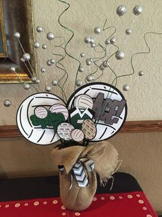 Volleyball Banquet made with Cricut - Football themed too Volleyball Decorations, Volleyball Crafts, Volleyball Locker, Volleyball Party, Coaching Volleyball, Sports Banquet Centerpieces, Banquet Decorations, Locker Decorations, Banquet Ideas