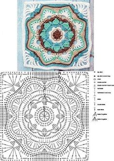 Looks like a double and treble crochet on those points of the grannies. Single crochet around the grannies, then single crochet the grannies together to make the seam ridge. The Ultimate Granny Square Diagrams Collection ⋆ Crochet Kingdom - Salvabrani Motif Mandala Crochet, Granny Square Crochet Pattern, Crochet Diagram, Crochet Chart, Crochet Squares, Crochet Blanket Patterns, Crochet Granny, Crochet Stitches, Free Crochet