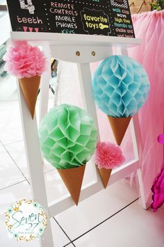 Ice Cream Birthday Party Tissue ball ice cream cones from a Girly Ice Cream Birthday Party on Kara's Party Ideas First Birthday Parties, Birthday Party Themes, First Birthdays, Ball Birthday, 4th Birthday, Birthday Ideas, Candyland, Backyard Party Games, Diy Party Crafts