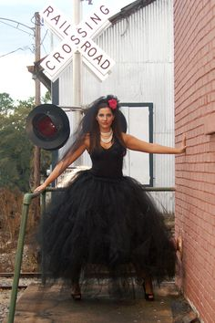 Full length black tulle tutu style skirt perfect for party, prom, costume, portraits or wedding.