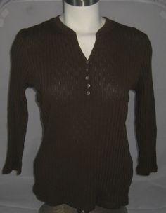 Dockers Collection Ash Brown V-Notch Neck Rib Knit Sweater Ladies Large EUC! #DOCKERS #VNotchNeckPullover #Work