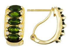 Stratify(Tm)2.66ctw Marquise Chrome Diopside With .20ctw White Zircon 18k Gold Over Silver Earrings