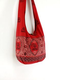 Handmade Cotton Printed bag Elephant bag Hippie Hobo by veradashop, $9