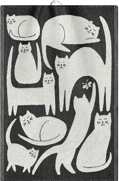 Cats Nine Lives Ekelund Jacquard Tea Towel