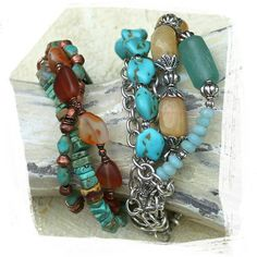 Chunky Multistrand Silver Turquoise Beaded by rocksandpaperswans