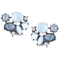 Lydell Nyc Silvertone Crystal Cluster Earrings ($18) ❤ liked on Polyvore featuring jewelry, earrings, multi, bezel earrings, multi color earrings, multi colored earrings, silvertone jewelry and bezel jewelry