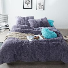 Fluffy Velvet Fleece Quilt Cover Bed Set (4/6/7 pcs) - Dark Night