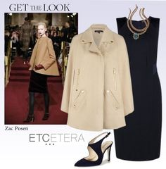 """""""Sparkle"""" wool cape, """"Midnight"""" navy blue sheath dress, and """"Kaelyn"""" 24k gold-plated necklace. Etcetera Fall 2013 