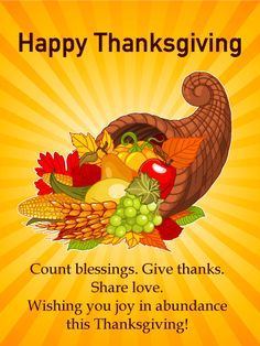 Send Free Joy in Abundance - Happy Thanksgiving Card to Loved Ones on Birthday & Greeting Cards by Davia.