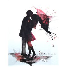 Love Paris Romance Kiss Red Umbrella Original Watercolor Painting,... ($75) ❤ liked on Polyvore featuring home, home decor, backgrounds, fillers, anime, couples, people, doodle, scribble and paris home decor
