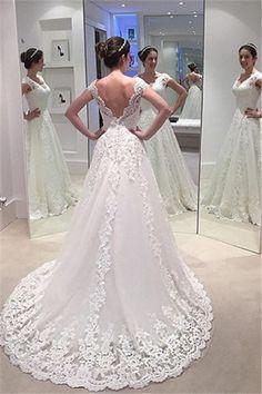 Elegant A-line Lace Bride Dress 2018 V-neck Open Back Long Train Wedding  Dress Cheap e8433dac504a