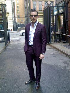 Burgundy suit.. so interesting. | Wedding | Groom & Groomsmen ...