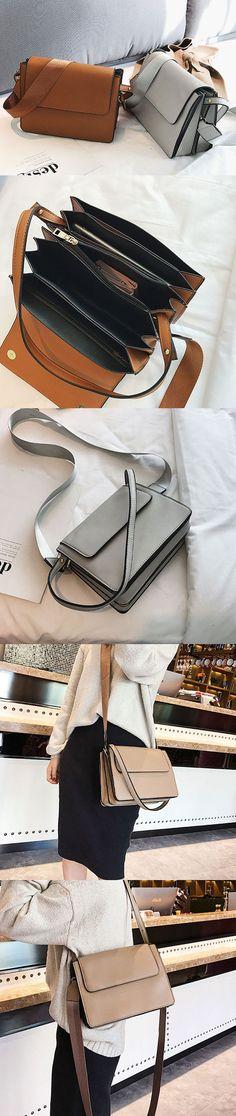 US$23.55  Women PU Leather Multi-Layer Crossbody Bag Cover Messenger Bag